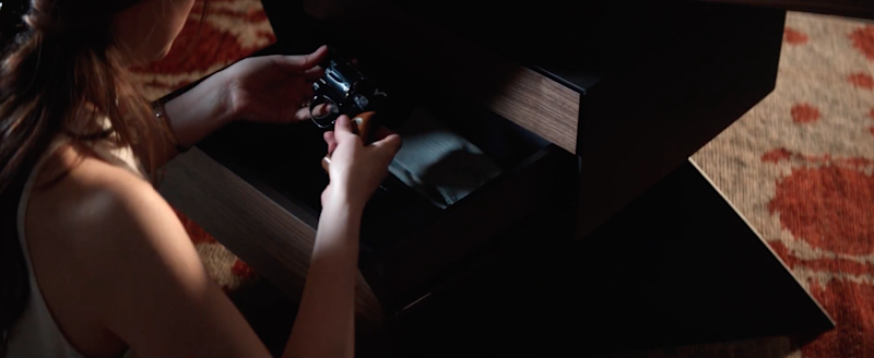 Dakota Johnson (Ana Grey) pulls out a gun in one of the scenes. Source: Supplied