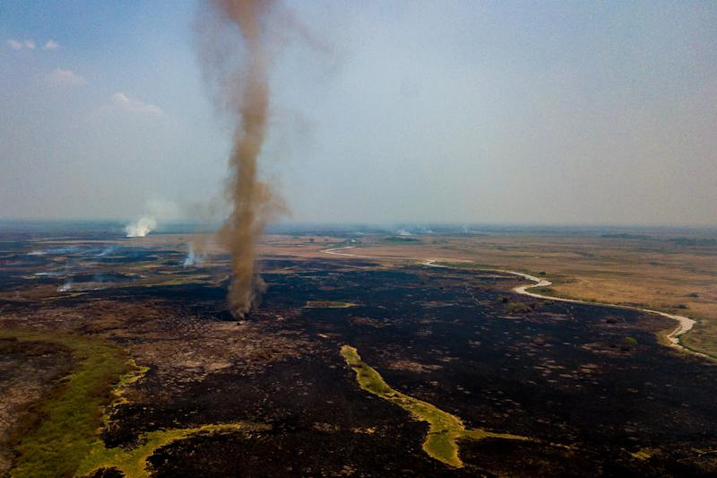 An aerial view in Pocone, Brazil, of smoke rising during a fire in the Pantanal wetlands on Sept. 24, 2020.