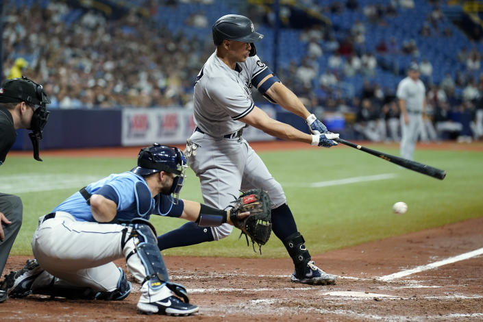 New York Yankees' Giancarlo Stanton strikes out on a pitch from Tampa Bay Rays' Luis Patino during the sixth inning of a baseball game Thursday, July 29, 2021, in St. Petersburg, Fla. (AP Photo/Chris O'Meara)