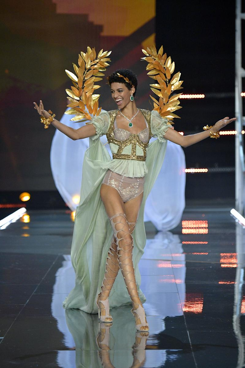 SHANGHAI, CHINA - NOVEMBER 20: Model Jourdana Phillips walks the runway during the 2017 Victoria's Secret Fashion Show In Shanghai at Mercedes-Benz Arena on November 20, 2017 in Shanghai, China. (Photo by Matt Winkelmeyer/Getty Images for Victoria's Secret)
