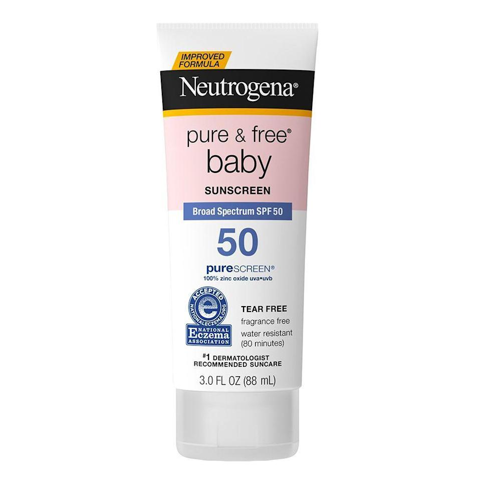 """<p><strong>Neutrogena</strong></p><p>walmart.com</p><p><strong>$10.97</strong></p><p><a href=""""https://go.redirectingat.com?id=74968X1596630&url=https%3A%2F%2Fwww.walmart.com%2Fip%2F100366602&sref=https%3A%2F%2Fwww.bestproducts.com%2Fparenting%2Fkids%2Fg35913739%2Fkids-sunscreen-for-dark-skin%2F"""" rel=""""nofollow noopener"""" target=""""_blank"""" data-ylk=""""slk:Shop Now"""" class=""""link rapid-noclick-resp"""">Shop Now</a></p><p>Formulated with 100% naturally derived zinc oxide, Neutrogena Pure & Free is a sunscreen option you can feel good about slathering on your tot. The Purescreen Technology helps to scatter, absorb, and reflect sun rays so that your baby can enjoy the warm weather without the danger. Totally free of fragrance and color, it is gentle on your tot's delicate skin.<br></p><p>Of all of the options Miles tried, this is probably the one that is most like a classic sunscreen. It is lotion-like, but thick, and offers full-coverage protection. When Miles initially applied the sunscreen, it was pure white. We really had to work it into his skin for him to not look like he'd just rolled around on a chalk factory floor. </p><p>However, the thick, zinc oxide-packed formula really protected his skin while playing outside in the sun. Dr. Zeichner suggests a 30 SPF for babies and children, so this 50 SPF really packed a punch. </p>"""