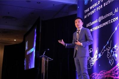Squirrel AI Learning's founder Derek Haoyang Li delivering a speech