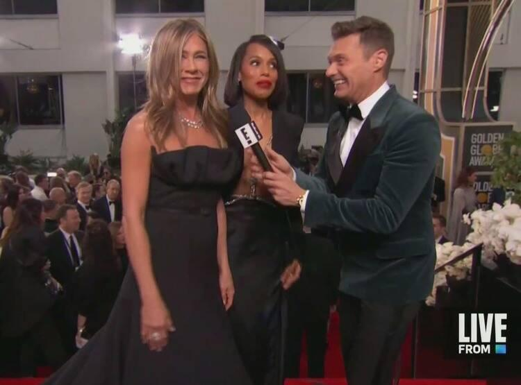 Kerry Washington stepped out of her interview to make space for Jennifer Aniston. Photo: E!