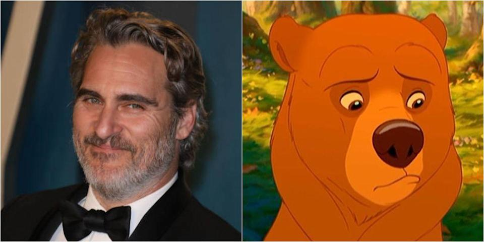 """<p>As the main character in the 2003 flick, Joaquin Phoenix voiced an Inuit hunter who is magically transformed into a bear. Check out <a href=""""https://www.youtube.com/watch?v=HD4pEm8oTwk"""" rel=""""nofollow noopener"""" target=""""_blank"""" data-ylk=""""slk:this video"""" class=""""link rapid-noclick-resp"""">this video</a> of Phoenix getting annoyed with a reporter asking questions about it if you want to feel some awkwardness but also learn a little bit more about the film's production.</p>"""