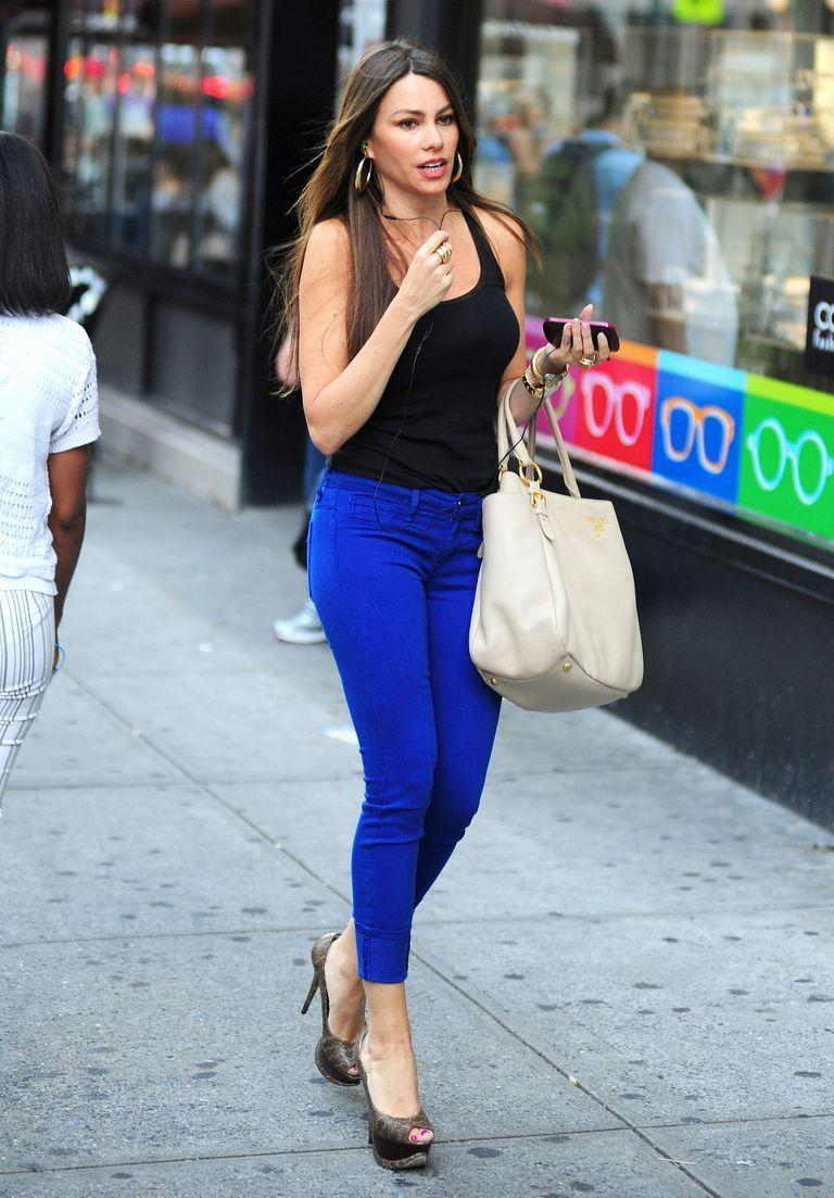 <p>Colored denim — bright greens, reds, purples, and more — have their moment in the sun. For Sofia Vergara, cobalt is the trendy color of choice.</p>