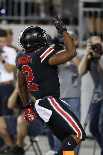 Ohio State running back J.K. Dobbins celebrates his touchdown against Michigan State during the first half of an NCAA college football game Saturday, Oct. 5, 2019, in Columbus, Ohio. (AP Photo/Jay LaPrete)