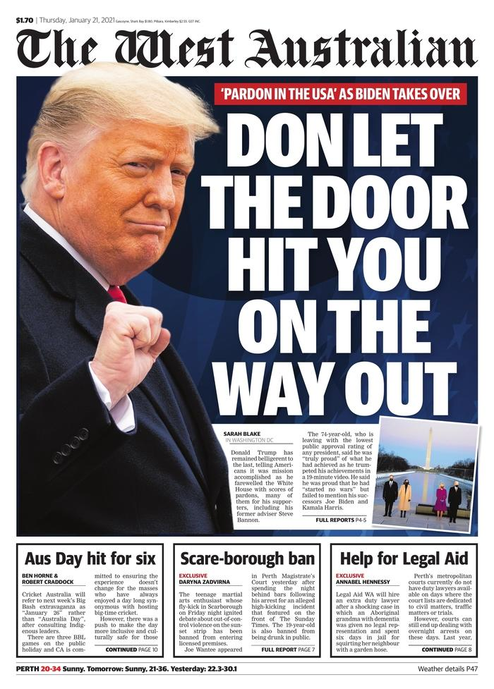 January 21, 2021 front page of the West Australian