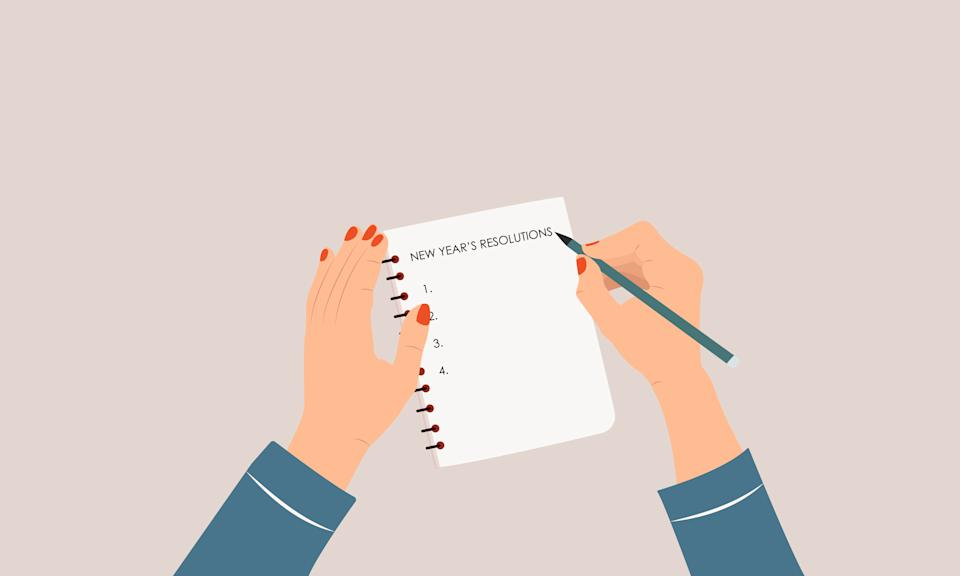 Woman writing new year's resolutions in her notebook. A list of goals concept. Female hand. Colorful, modern vector illustration in cartoon flat style.