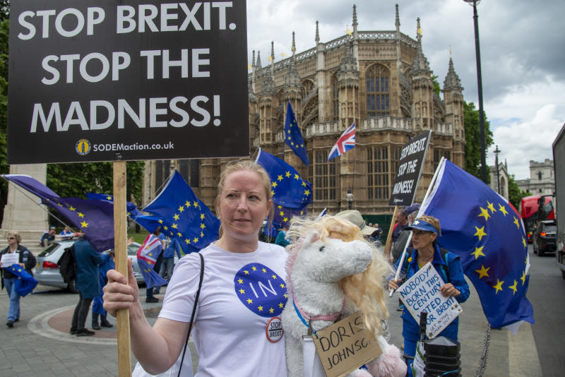 A pro remain supporter pokes fun at leadership hopeful Boris Johnson with a unicorn toy called Doris Johnson opposite the Houses of Parliament in London,UK on June 20, 2019. Inside parliament conservative MP's take part in a ballot to decide the final two candidates for the position of Conservative Leader and Prime Minister. (Photo by Claire Doherty/Sipa USA)
