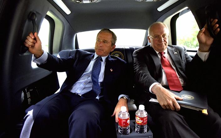 Bush and Cheney in the back of the Presidential limousine - Gado/Smith Collection