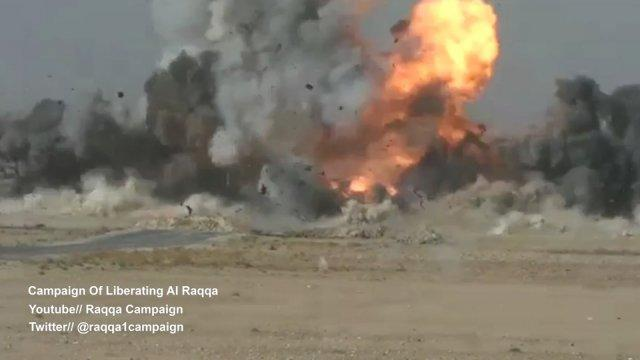 Charging Islamic State suicide car bomb destroyed