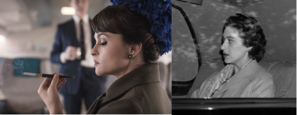 """<p>Helena Bonham Carter took on the role of rebellious Princess Margaret for season three and four. Once the news was released, the actress <a href=""""https://www.bbc.com/news/entertainment-arts-43994634"""" rel=""""nofollow noopener"""" target=""""_blank"""" data-ylk=""""slk:stated"""" class=""""link rapid-noclick-resp"""">stated</a>, """"I'm not sure which I'm more terrified about—doing justice to the real Princess Margaret or following in the shoes of Vanessa Kirby's Princess Margaret."""" Which…fair. </p>"""