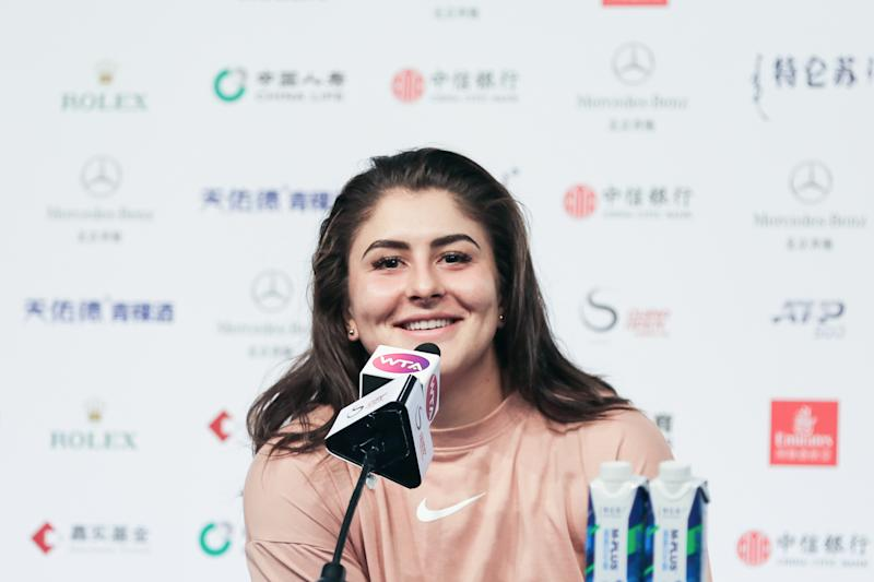 BEIJING, CHINA - SEPTEMBER 30: Bianca Andreescu of Canada attends a press conference after the Women's Singles first round match against Aliaksandra Sasnovich of Belarus on Day three of 2019 China Open at the China National Tennis Center on September 30, 2019 in Beijing, China. (Photo by VCG/VCG via Getty Images)