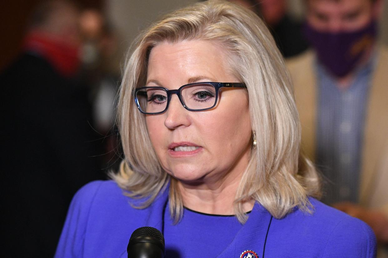 Rep. Liz Cheney, R-Wyo., speaks to reporters at the Capitol in Washington, D.C., on Wednesday. (Photo by Mandel Ngan/AFP via Getty Images)