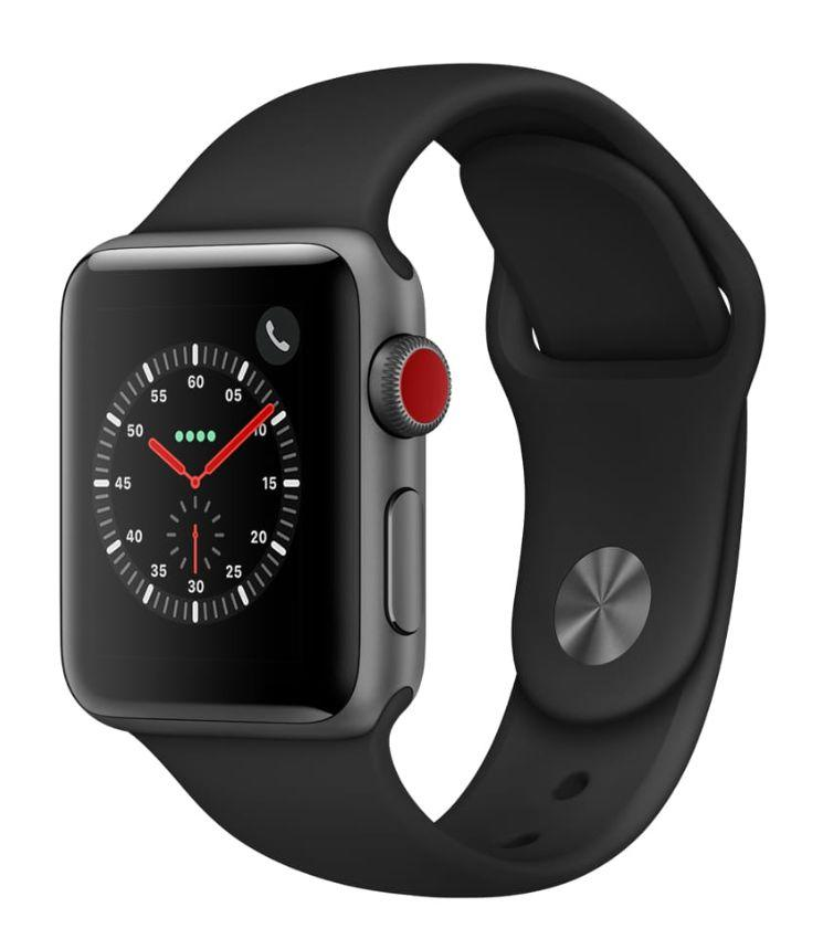 Apple Watch Series 3, GPS + Cellular, 38mm, Sport Band, Aluminum Case in Space Gray / Black. (Photo: Walmart)