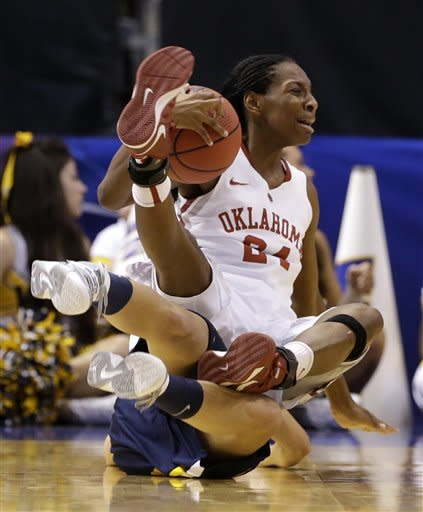 Oklahoma guard Sharane Campbell (24) lands atop of West Virginia' Brooke Hampton, bottom, after a collision while scrambling for a ball in the first half of an NCAA college basketball game in the Big 12 women's tournament on Saturday, March 9, 2013, in Dallas. (AP Photo/Tony Gutierrez)