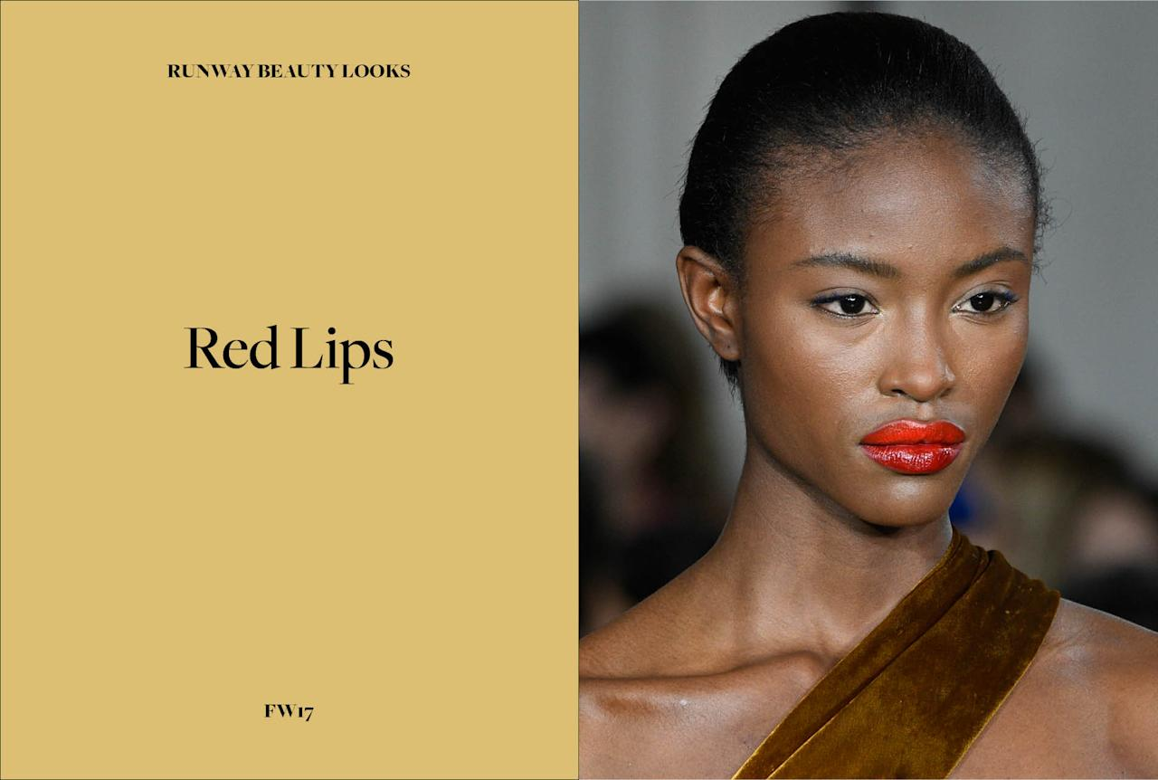 <p>Red lipstick is classic, but what makes this season's take on the trend fresh is the modern formulations that really let these matte and glossy crimson-colored lips pop. Pair with understated makeup, and you're good to go! (Photo: Getty Images) </p>