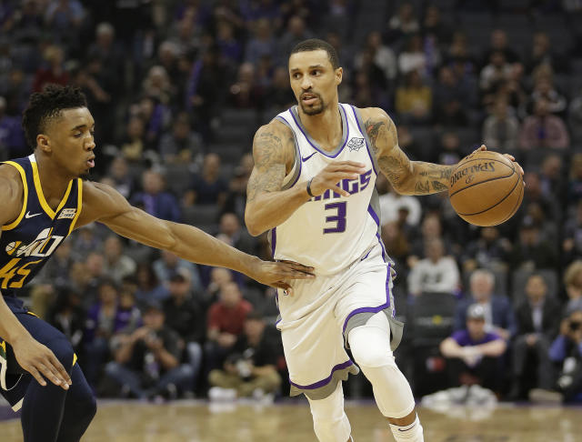 George Hill is shooting 45.6 percent from 3-point range this season. (AP)