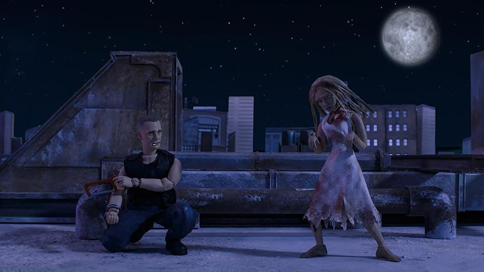 Merle reflects on life and love as a female Walker joins him in on the rooftop in 'The Robot Chicken Walking Dead Special: Look Who's Walking' (Photo: Courtesy of Adult Swim)