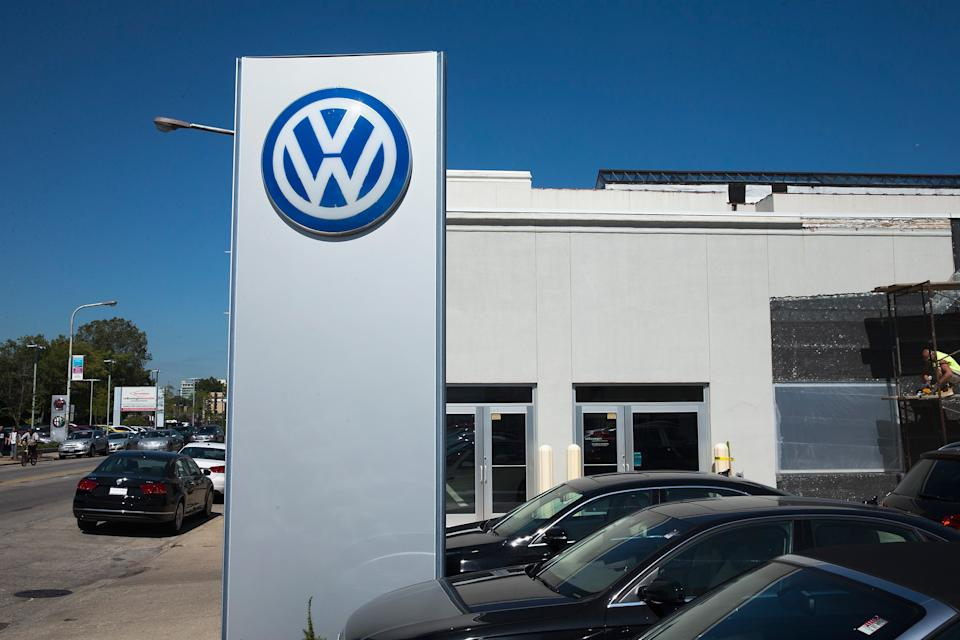 EVANSTON, IL - SEPTEMBER 22:  A sign marks the location of a Volkswagen dealership on September 22, 2015 in Evanston, Illinois. The Environmental Protection Agency (EPA) has accused Volkswagen of installing software on nearly 500,000 diesel cars in the U.S. to evade federal emission regulations. The cars in question are 2009-14 Jetta, Beetle, and Golf, the 2014-15 Passat and the 2009-15 Audi A3. As many as 11 million cars worldwide could be affected by the deception.  (Photo by Scott Olson/Getty Images)