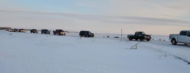 Residents of Arviat, Nunavut, gave an appreciative send-off in January to a Vancouver doctor who stayed in the community through a COVID-19 outbreak. (Nataasha Hilu Komakjuak - image credit)
