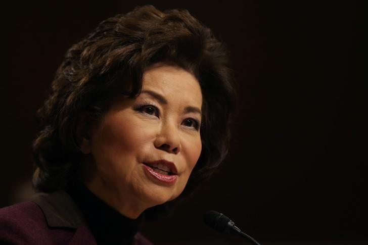 FILE PHOTO: Elaine Chao testifies before a Senate Commerce Science and Transportation Committee confirmation hearing on her nomination to be transportation secretary on Capitol Hill in Washington
