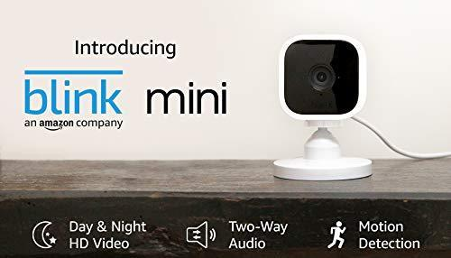 Blink Mini – Compact indoor plug-in smart security camera, 1080 HD video with Alexa