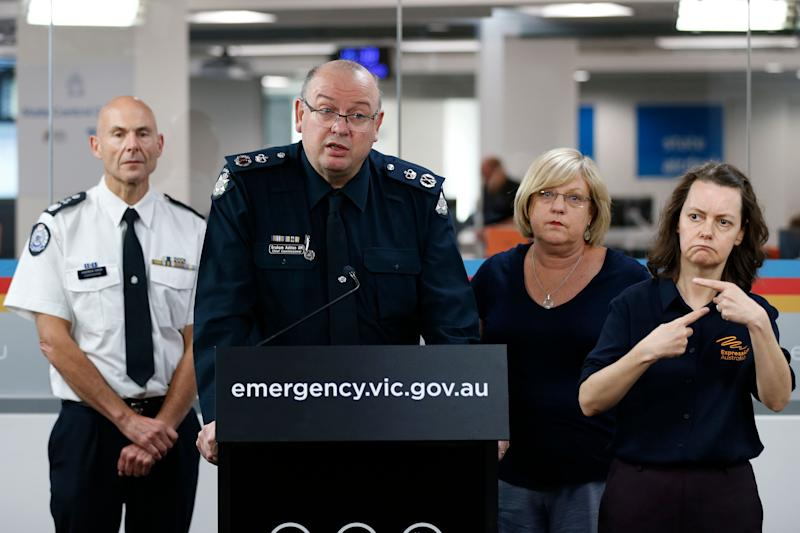 Victoria Police Chief Commissioner Graham Ashton speaks to the media at the State Control Centre on March 16, 2020 in Melbourne, Australia. Victorian cultural spaces will close temporarily to the public from today as a precautionary measure in response to the ongoing coronavirus pandemic. The Victorian Premier Daniel Andrews has also announced a State of Emergency would come into effect at midday, giving the Chief Health Officer powers to enforce 14-day isolation requirements for all travellers entering Australia and cancel mass gatherings of more than 500 people. (Photo: Darrian Traynor via Getty Images)