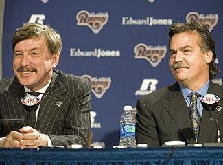 Rams owner Stan Kroenke (left) and coach Jeff Fisher enter this season's draft loaded with picks