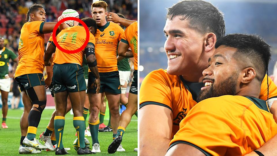 Despite the numbers on the Wallabies' jerseys being almost impossible to read, the Aussies scored their second win over South Africa in as many weeks to leap up the Rugby Championship standings. Pictures: Getty Images