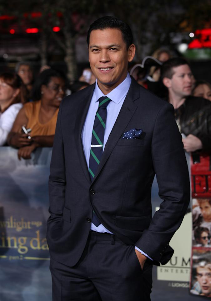 """Chaske Spencer arrives at """"The Twilight Saga: Breaking Dawn - Part 2"""" Los Angeles premiere at the Nokia Theatre L.A. Live on November 12, 2012 in Los Angeles, California."""