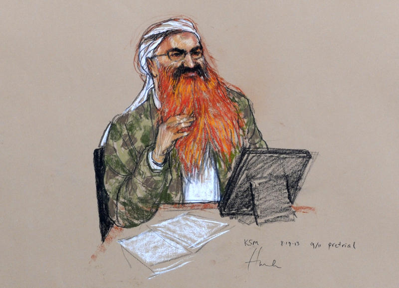 In this pool photo of a sketch by courtroom artist Janet Hamlin and reviewed by the U.S. Department of Defense, the self-proclaimed terrorist mastermind Khalid Sheikh Mohammed, with his gray beard streaked with reddish-orange dye, attends the pretrial hearings at the Guantanamo Bay U.S. Naval Base in Cuba, Monday, Aug. 19, 2013. Five Guantanamo Bay prisoners accused of helping orchestrate the Sept. 11 terrorist attacks returned to court Monday as arguments resumed. Lawyers for the five prisoners, who face charges that include murder and terrorism, began to challenge the statements made to U.S federal agents such as James Fitzgerald of the FBI and Stephen McClain, with the Criminal Investigative Task Force of the Department of Defense, who defended their interrogation of one of the detainees. (AP Photo/Janet Hamlin, Pool)
