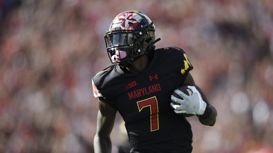 Maryland wide receiver Dontay Demus Jr. scores a touchdown against Kent State in the first half of an NCAA college football game Saturday, Sept. 25, 2021, in College Park, Md. (AP Photo/Gail Burton)