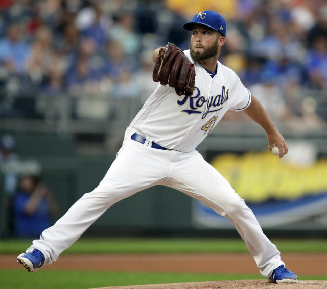 Kansas City Royals starting pitcher Danny Duffy delivers to a Minnesota Twins batter during the first inning of a baseball game at Kauffman Stadium in Kansas City, Mo., Friday, July 20, 2018. (AP Photo/Orlin Wagner)