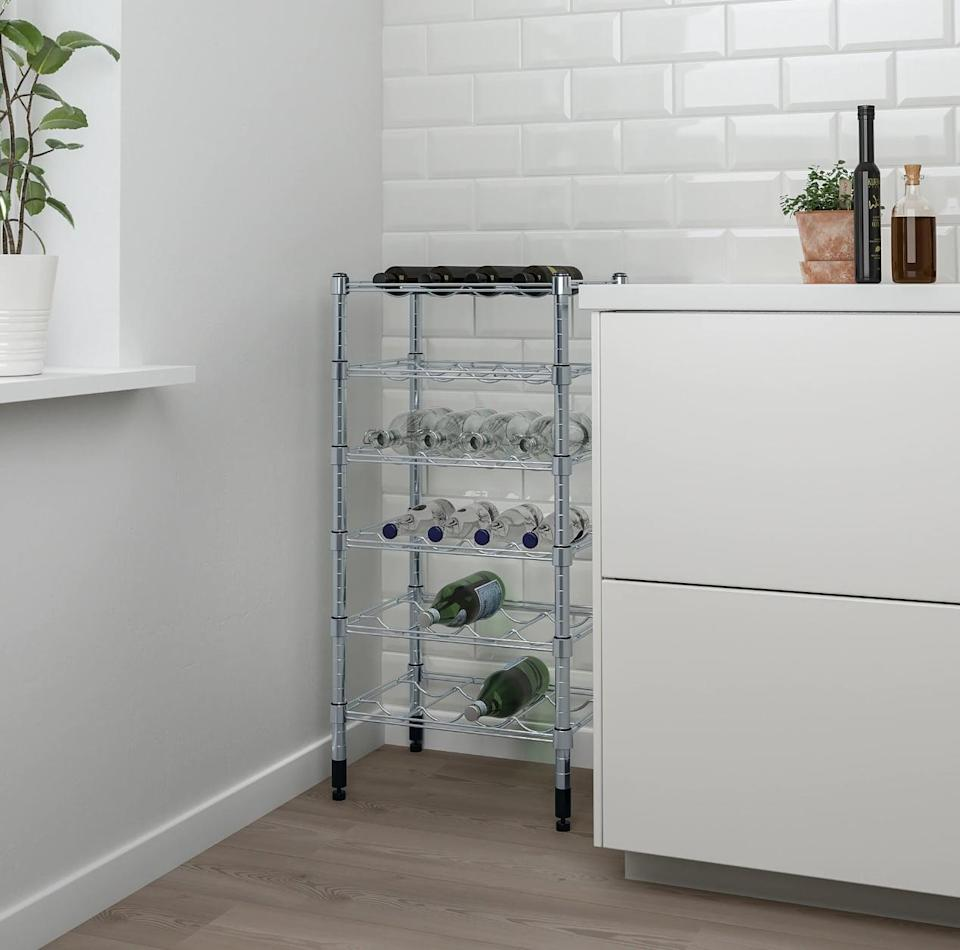 "<p>The compact make of the <a href=""https://www.popsugar.com/buy/Omar%20Bottle%20Shelving%20Unit-447010?p_name=Omar%20Bottle%20Shelving%20Unit&retailer=ikea.com&price=40&evar1=casa%3Aus&evar9=46151613&evar98=https%3A%2F%2Fwww.popsugar.com%2Fhome%2Fphoto-gallery%2F46151613%2Fimage%2F46152199%2FOmar-Bottle-Shelving-Unit&list1=shopping%2Cikea%2Corganization%2Ckitchens%2Chome%20shopping&prop13=api&pdata=1"" rel=""nofollow noopener"" target=""_blank"" data-ylk=""slk:Omar Bottle Shelving Unit"" class=""link rapid-noclick-resp"">Omar Bottle Shelving Unit</a> ($40) makes it ideal for small spaces that are in dire need of extra storage.</p>"