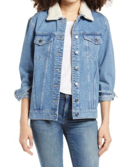 BP Denim Jacket with Removable Faux Shearling Collar. (Image via Nordstrom)