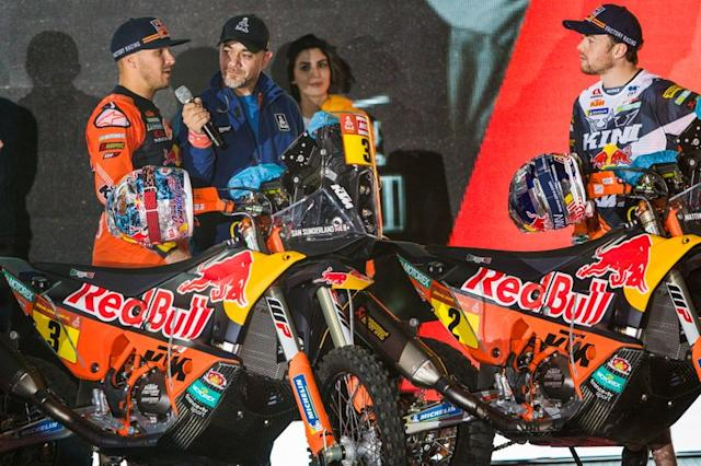 "#3 Red Bull KTM Factory Racing: Sam Sunderland, #2 Red Bull KTM Factory Racing: Matthias Walkner <span class=""copyright"">Red Bull Content Pool</span>"