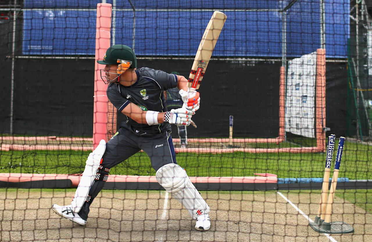 MANCHESTER, ENGLAND - JULY 31:  David Warner of Australia bats during an Australian Nets Session at Old Trafford on July 31, 2013 in Manchester, England.  (Photo by Ryan Pierse/Getty Images)