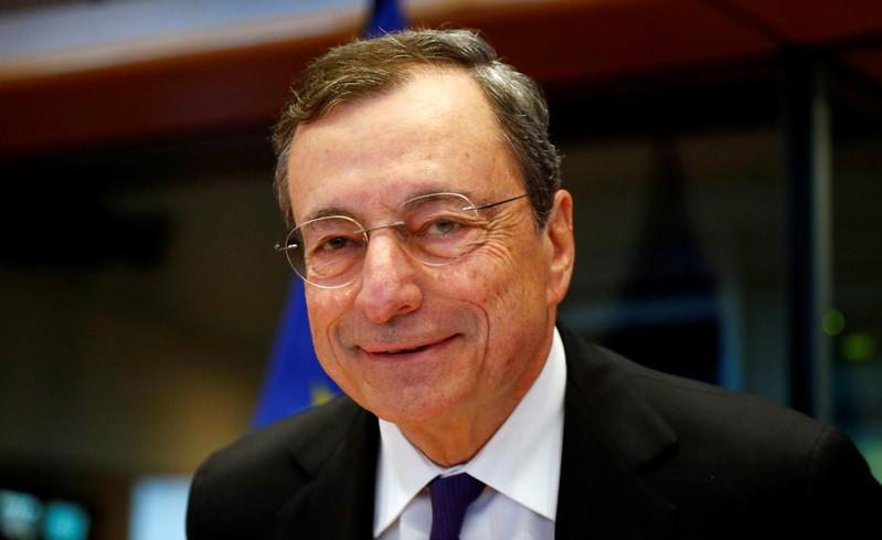 ECB President Draghi arrives to testify before the EU Parliament's Economic and Monetary Affairs Committee in Brussels