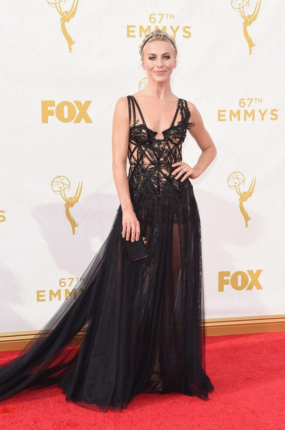 <p>Hough gave us a little romantic goth in Marchesa with a peek-a-boo bodice and sheer skirt. </p>