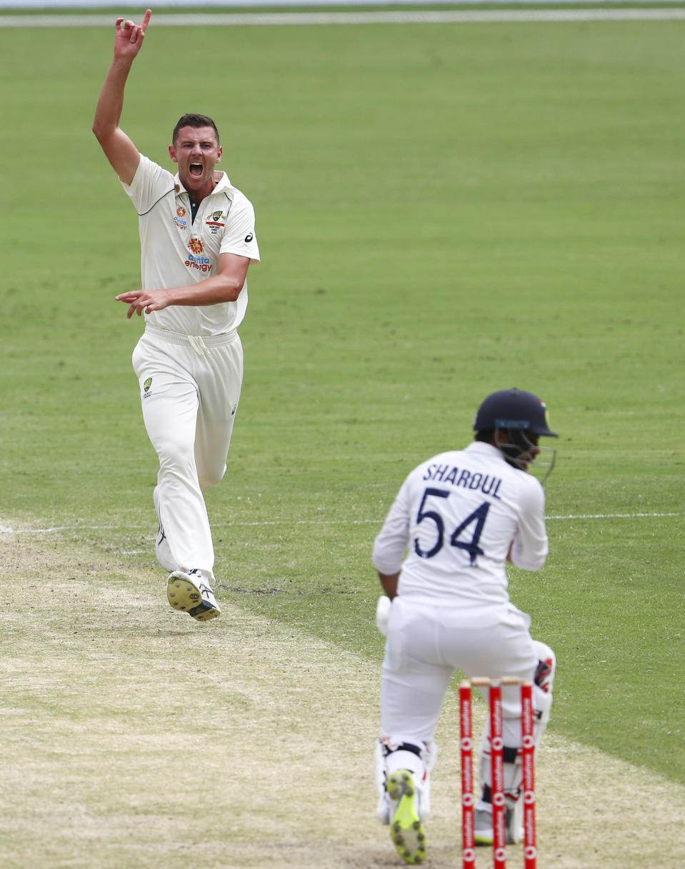 Australia's Josh Hazlewood appeals unsuccessfully for the wicket of India's Shardul Thakur during play on day three of the fourth cricket test between India and Australia at the Gabba, Brisbane, Australia, Sunday, Jan. 17, 2021. (AP Photo/Tertius Pickard)