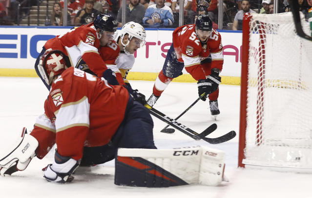 Pittsburgh Penguins center Teddy Blueger (53) scores against Florida Panthers goaltender Sergei Bobrovsky (72) during the second period of an NHL hockey game Tuesday, Oct. 22, 2019, in Sunrise, Fla. (AP Photo/Brynn Anderson)