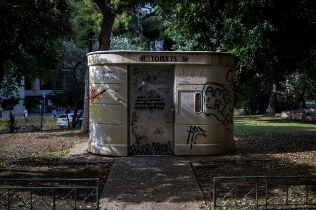 <p>A public toilet at Klafthmonos Square in Athens, Greece. (Photo: Angelos Tzortzinis/AFP/Getty Images) </p>