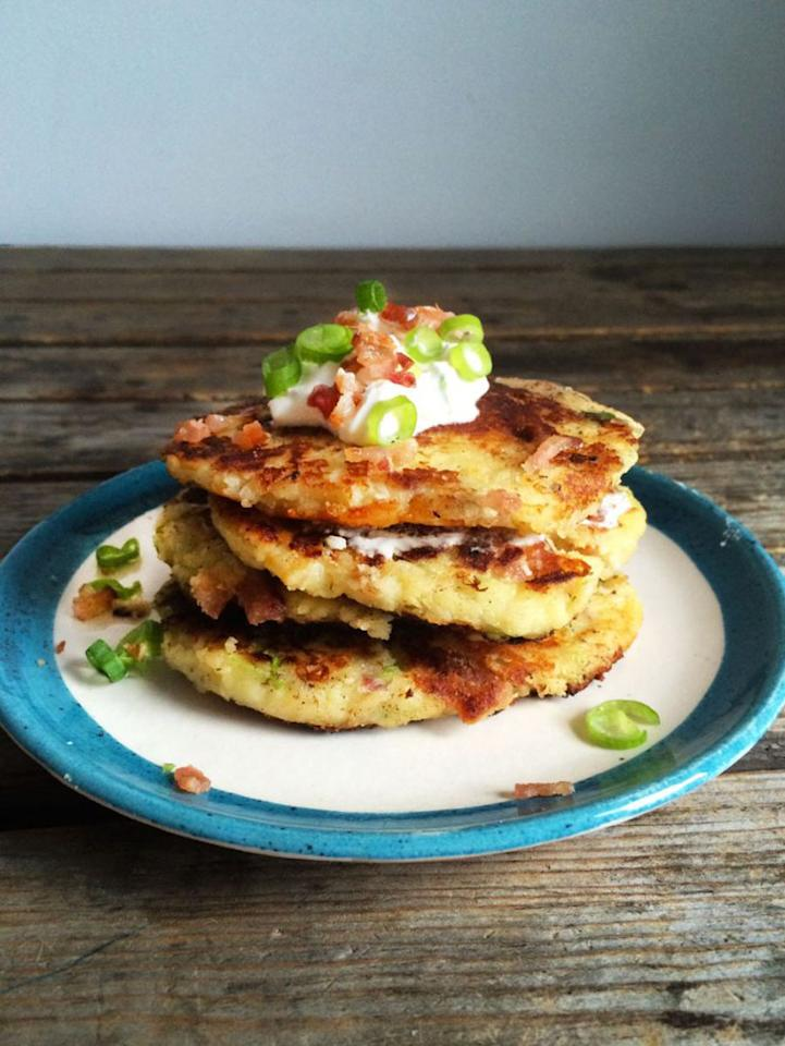 """<p>With just a few ingredients (including cheese <i>and</i> bacon!) along with a trip to the skillet, leftover mashers are magically transformed into hot and crispy potato pancakes. <a href=""""https://www.yahoo.com/food/how-to-turn-leftover-mashed-potatoes-into-161438917.html""""><b>Get the Loaded Mashed Potato Pancakes recipe here</b>.</a>(<i>Photo: Donna Yen)</i></p>"""