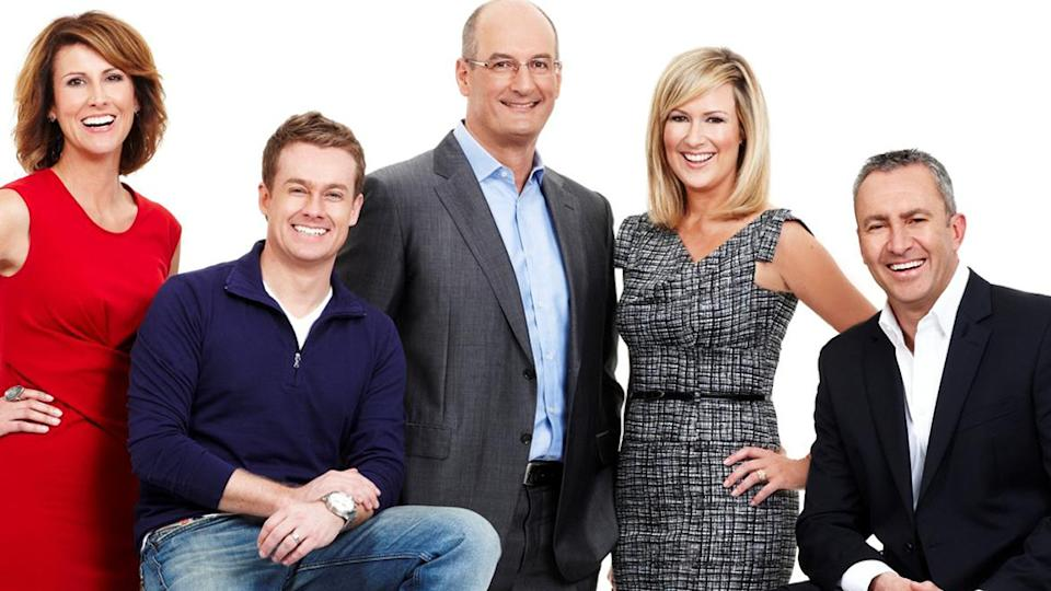 """Grant Denyer (second from left) has revealed he used to try to make Melissa Doyle (second from right) """"uncomfortable"""" on Sunrise. Photo: Seven"""