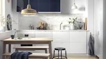 """<p>Cool tones are perfect for a clean and simple kitchen. A high gloss white, with a deep blue or forest green, pairs perfectly with light, natural woods. Keep your lines clean and use accessories sparingly – this is a very easy scheme to do well, and within a tight budget. </p><p>Pictured: <a href=""""https://go.redirectingat.com?id=127X1599956&url=https%3A%2F%2Fwww.ikea.com%2Fgb%2Fen%2Fp%2Fringhult-drawer-front-high-gloss-white-30205104%2F&sref=https%3A%2F%2Fwww.housebeautiful.com%2Fuk%2Fdecorate%2Fkitchen%2Fg37409102%2Fwhite-kitchen%2F"""" rel=""""nofollow noopener"""" target=""""_blank"""" data-ylk=""""slk:Ringhult Kitchen Cabinets at IKEA"""" class=""""link rapid-noclick-resp"""">Ringhult Kitchen Cabinets at IKEA</a></p>"""