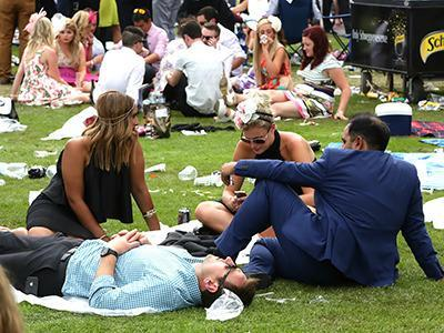 It's a long day at the Melbourne Cup so you have to grab some shut-eye whenever you can.