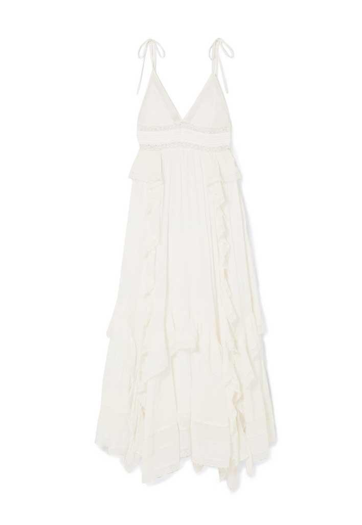 White ruffle maxi dress.