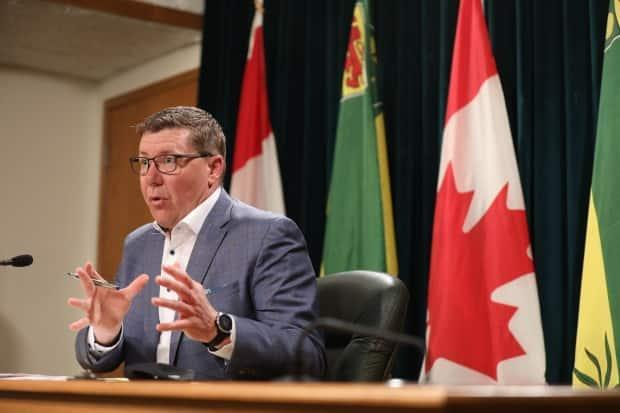 Premier Scott Moe says the province has talked to Ottawa about increasing vaccinations, rapid testing, and drug treatments used to help treat COVID-19. (Matt Duguid/CBC Saskatchewan - image credit)