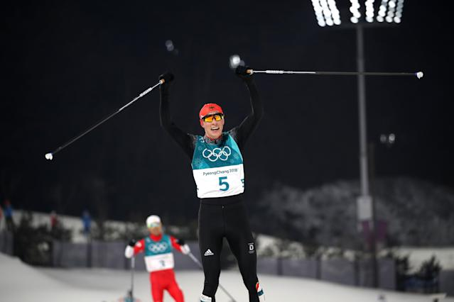 Nordic Combined Events - Pyeongchang 2018 Winter Olympics – Men's Individual 10km Final – Alpensia Cross-Country Skiing Centre - Pyeongchang, South Korea – February 14, 2018. Eric Frenzel of Germany celebrates his win. REUTERS/Carlos Barria